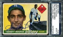 1955 Topps #123 PSA/DNA 9 Sandy Koufax Auto Signed Rookie Card Autograph Dodgers