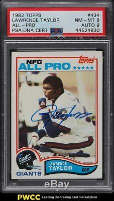 1982 Topps Football Lawrence Taylor ROOKIE PSA/DNA 9 AUTO #434 PSA 8