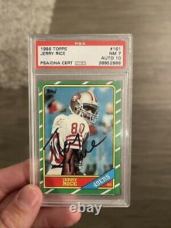 1986 Topps Jerry Rice #161 Signed Autographed Rookie Rc Auto Psa Dna 7 /10