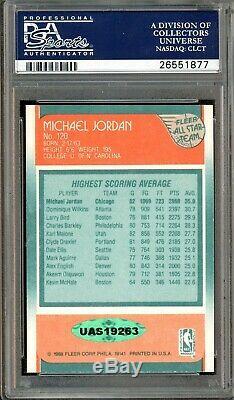 1988 Fleer All-Star #120 Michael Jordan Signed PSA 9 PSA/DNA 10 AUTO UDA