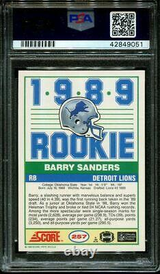 1989 Score #257 Barry Sanders Rc Heisman Hof Psa 10 Dna Auto 10 F1013109-051