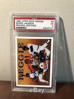 1990 Upper Deck Heroes Reggie Jackson Autographed Psa 5 Dna Certified