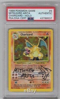 1999 Pokemon Base Set Charizard Holo 4 Mitsuhiro Arita Signed With Sketch PSA/DNA