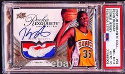 2007-08 UD Exquisite Kevin Durant RC /99 NBA LOGOMAN Patch PSA 8 PSA/DNA 10 AUTO
