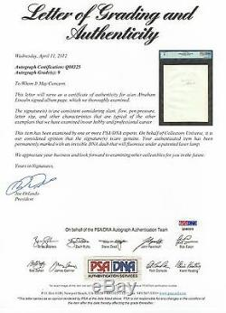 Abraham Lincoln Psa/dna Graded Mint 9 Signed Album Page Autographed Historic