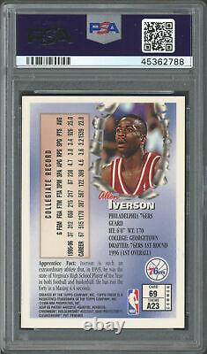 Allen Iverson Autographed 1996 Topps Finest Rookie Card #69 76ers Psa/dna 177598