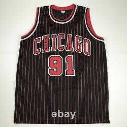 Autographed/Signed DENNIS RODMAN Chicago Pinstripe Basketball Jersey PSA/DNA COA