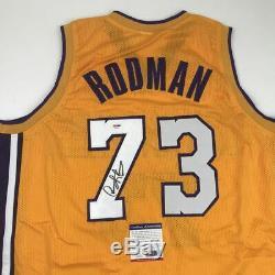 Autographed/Signed DENNIS RODMAN Los Angeles LA Yellow Jersey PSA/DNA COA Auto