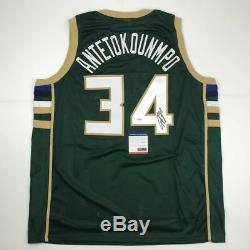Autographed/Signed GIANNIS ANTETOKOUNMPO Milwaukee Green Jersey PSA/DNA COA Auto
