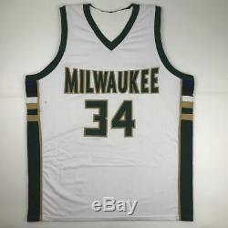 Autographed/Signed GIANNIS ANTETOKOUNMPO Milwaukee White Jersey PSA/DNA COA Auto