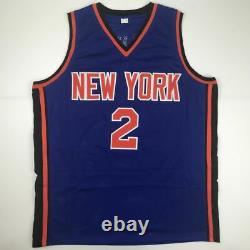 Autographed/Signed LARRY JOHNSON New York Blue Basketball Jersey PSA/DNA COA