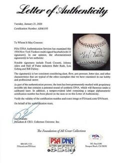 Babe Ruth Lou Gehrig +10 Yankees Signed Baseball withCase PSA/DNA AH41195