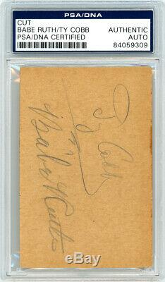 Babe Ruth & Ty Cobb Autographed Signed 2.5x4 Cut Signature PSA/DNA #84059309