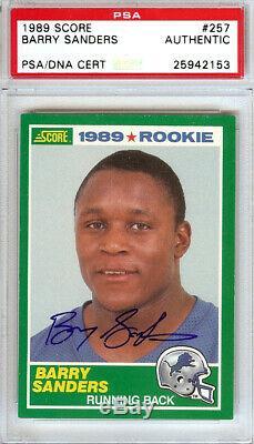 Barry Sanders Autographed 1989 Score Rookie Card #257 Lions Psa/dna 107413