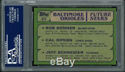 Cal Ripken Jr. Autographed 1982 Topps Rookie Card Orioles Gem 10 Psa/dna 103310
