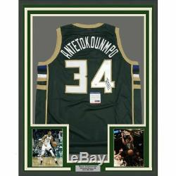 FRAMED Autographed/Signed GIANNIS ANTETOKOUNMPO 33x42 Green Jersey PSA/DNA COA