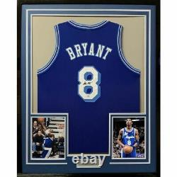 FRAMED Autographed/Signed KOBE BRYANT 33x42 Los Angeles Blue Jersey PSA/DNA COA