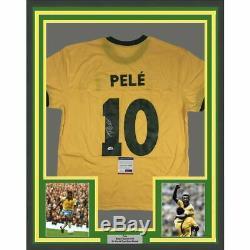 FRAMED Autographed/Signed PELE 33x42 Brazil Yellow Soccer Jersey PSA/DNA COA #2