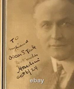 Harry Houdini Signed Rare 1924 Vintage 8x10 Photograph. Psa/dna Full Letter Coa