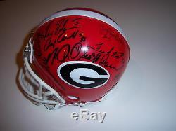 Herschel Walker 80 Georgia Bulldogs Team, Larry Munson Psa/dna Signed Mini Helmet