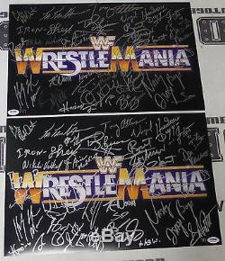 Hulk Hogan Shawn Michaels Bret Hart+ WWE Wrestlemania Signed 12x18 Photo PSA/DNA