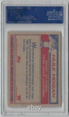 Hulk Hogan Signed 1985 Topps Rookie Card #1 withHOF Inscription PSA/DNA GEM MT 10