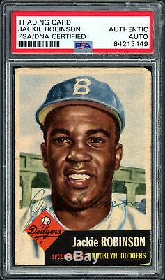 Jackie Robinson Autographed Signed 1953 Topps Card #1 Dodgers PSA/DNA #84213449