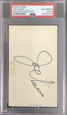Joe Louis Signed Index Card Boxing HOF Autograph Max Schmeling PSA/DNA