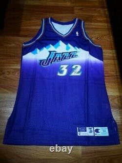 Karl Malone Champion 97 98 Autographed Game Issued Jersey double sign PSA/DNA