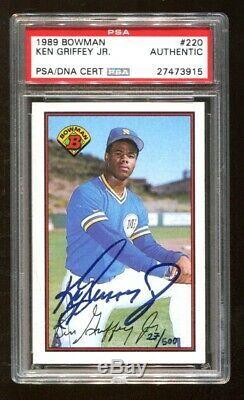 Ken Griffey Jr Signed Auto Autographed 1989 Bowman Rookie #220 Psa/dna 27473915