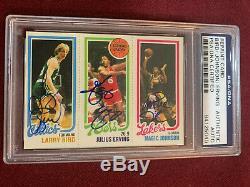 Larry Bird Magic Johnson Julius Erving 1980 Topps Reprint Rookie Auto PSADNA