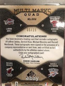 Lebron James Signed Auto Quad Westbrook, Derrick Rose, 3 MVPs, 5/25 PSA DNA