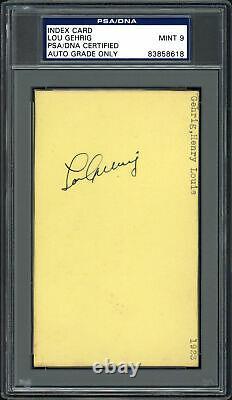 Lou Gehrig Autographed 3x5 Index Card Yankees Auto Grade Mint 9 PSA/DNA 83858618