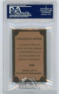 Maurice Richard Pre-Parkie Autographed Auto Card PSA/DNA