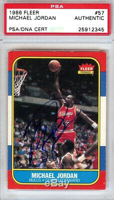 Michael Jordan Autographed 1986 Fleer Rookie Card Vintage PSA/DNA 25912345
