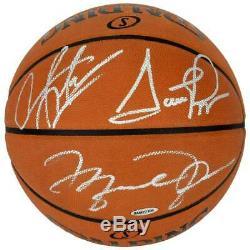Michael Jordan & Pippen Rodman Autographed Basketball Psa/dna Coa