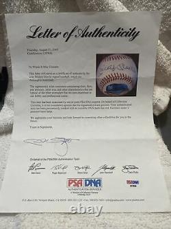 Mickey Mantle Hand Painted Portrait Signed Autographed Oal Baseball Psa/dna Loa