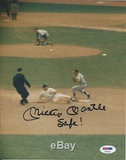 Mickey Mantle Safe! Psa/dna Certified Signed 8x10 Photograph Autographed