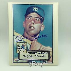 Mickey Mantle Signed Autographed 1952 Topps Rookie Card 8x10 Photo PSA DNA COA