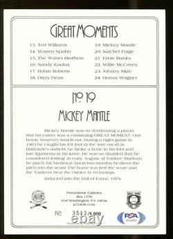 Mickey Mantle Signed Perez-Steele Great Moments Card Autographed Yankees PSA/DNA