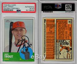 Mike Trout 2012 Topps Heritage RC Signed On Card PSA DNA Authentic Auto