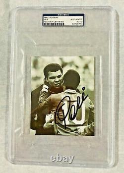 Muhammad Ali with Pele Autographed 4x6 Photo Signed PSA/DNA Slabbed