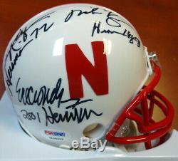 Nebraska Heisman Winners Autographed Mini Helmet 3 Sigs Crouch Psa/dna 103895