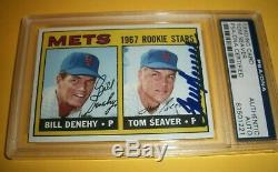 Ny Mets Tom Seaver Signed Card Psa Dna Auto Autograph 1967 Topps #581