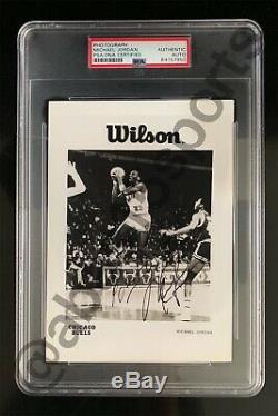 Original 1984-85 Michael Jordan Rookie Photo Card Signed Rc Psa/dna Auto Bulls