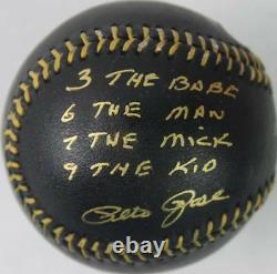 Pete Rose'3 Babe, 6 Man, 7 Mick, 9 Kid' Signed OML Black Baseball PSA/DNA