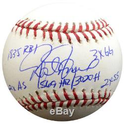Rafael Palmeiro Autographed Mlb Baseball Orioles Statball 6 Stats Psa/dna 125140