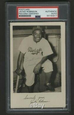 Rare Circa 1947 Jackie Robinson Autographed Postcard Tough Psa/dna