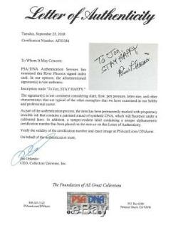 River Phoenix Signed Authentic Autographed 4x6 Green Index Card PSA/DNA #AF03184