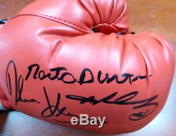 Sale! 3 Boxing Greats Autographed Boxing Glove Leonard Hearns Duran Lh Psa/dna